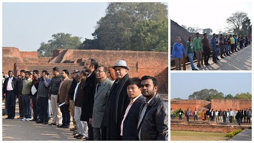 Human chain formation at Nalanda ruins