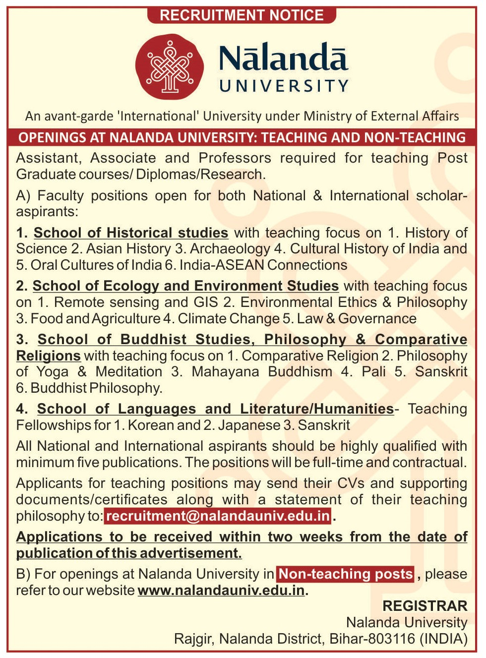 Nalanda University | Jobs and Internships - Nalanda University